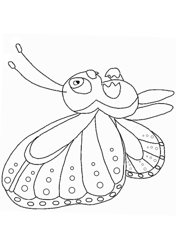Free Online Little Butterfly Colouring Page Kids