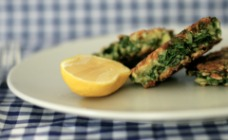 Haloumi and silver beet fritters