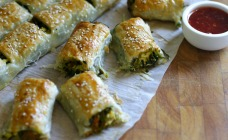 Pumpkin, spinach and feta rolls