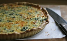 Silver beet and bacon tart