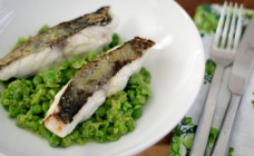 Crispy Skin Fish with Smashed Peas