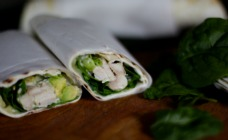 Chicken and avocado tortilla wraps