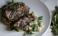 Lamb Steaks with Eggplant Salad