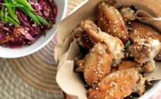 Sticky Sesame Chicken Wings with Red Cabbage Salad
