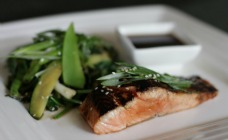 Teriyaki salmon with sesame greens