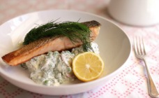 Pan-fried salmon with tangy potato salad