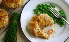 Salmon filo pies
