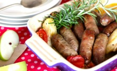 Sausage, apple and rosemary bake