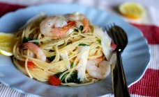 Prawn and spinach spaghetti