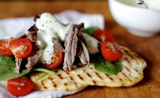 Leftover roast lamb flatbreads