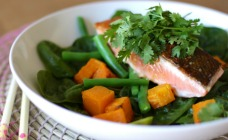 Salmon and pumpkin salad with chilli jam