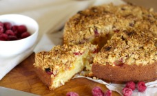 Raspberry and nectarine crumble cake