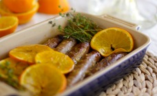 Sausages with orange glaze