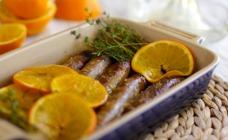 Sausages with orange glaze