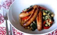 Sausages with braised chickpeas