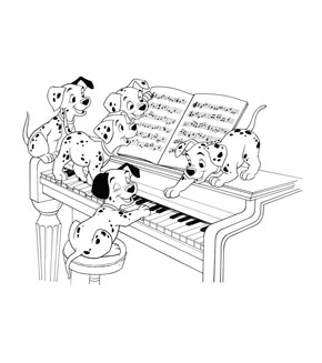101 Dalmations Colouring Page