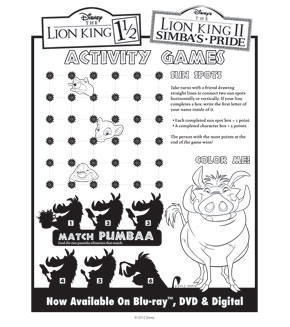The Lion King 2 Actiivity Sheet