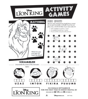 The Lion King - Activity Sheet