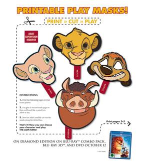 The Lion King - printable masks