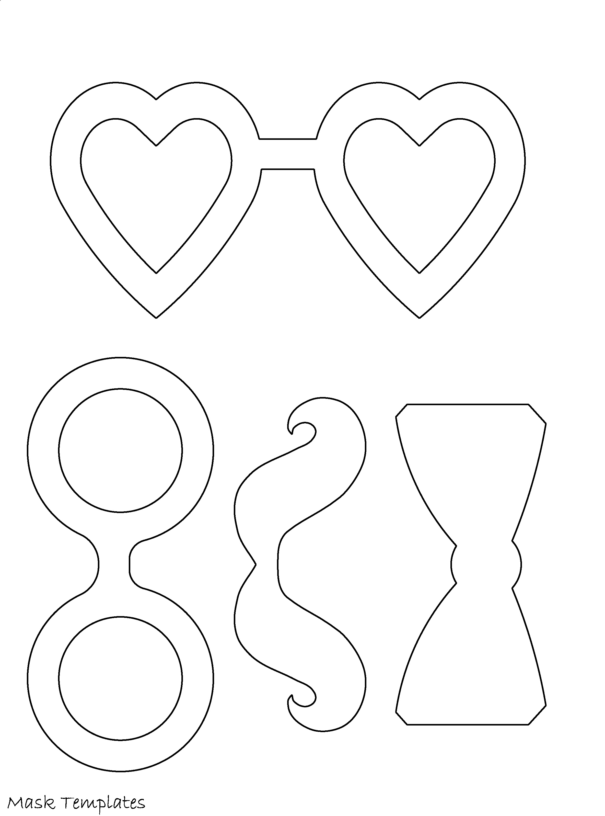 4 X Printable Masquerade Mask Templates