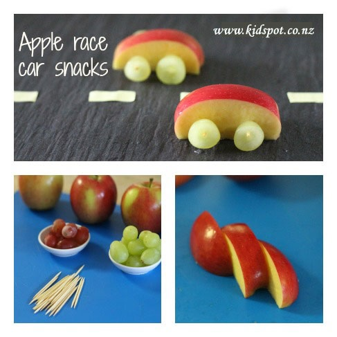 Apple race car snacks