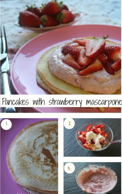 Pancakes with strawberry mascarpone