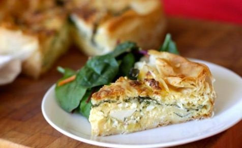 Three cheese and spinach pie