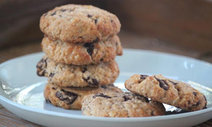 Chewy choc-banana cookies
