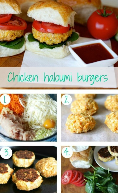 Chicken and haloumi burgers