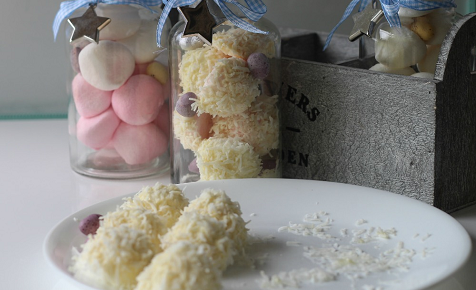 Easter bunny tails made from marshmallow