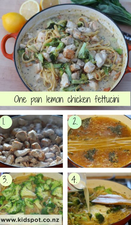 one pan lemon chicken fettucini