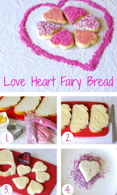Love heart fairy bread