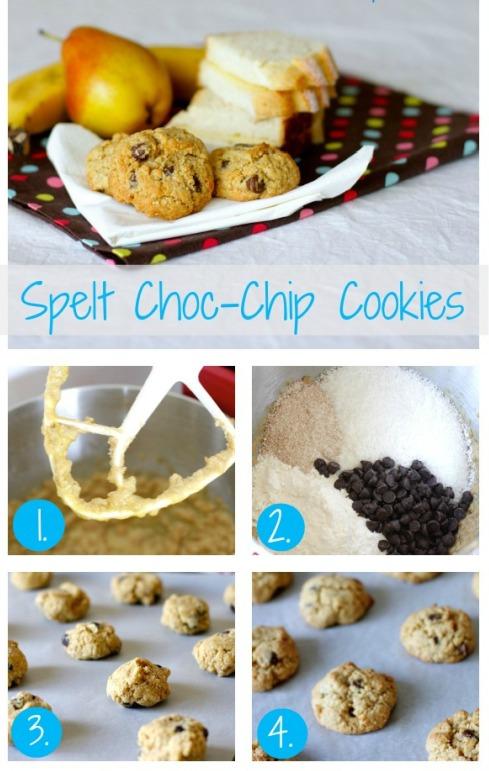 Spelt choc chip cookies