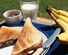 Nutella and banana toasted sandwiches