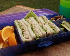 Tuna, mayo, celery and lettuce sandwiches