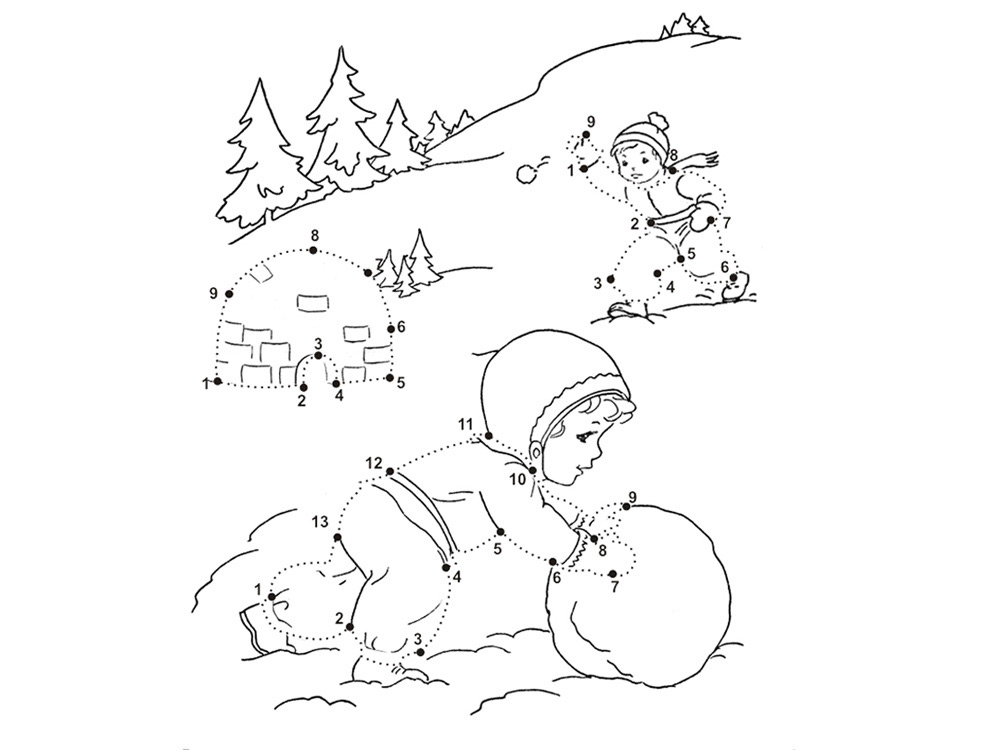hard winter coloring pages | Dot To Dot - Printable - Winter