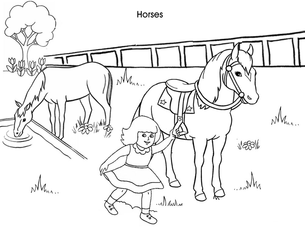 Printables - Colouring Pages - Horses