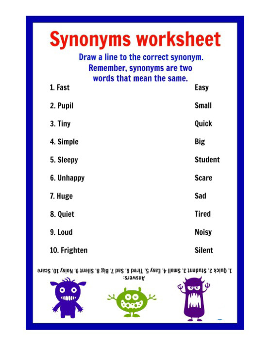 Printable Synonyms Worksheets – Synonyms Worksheet