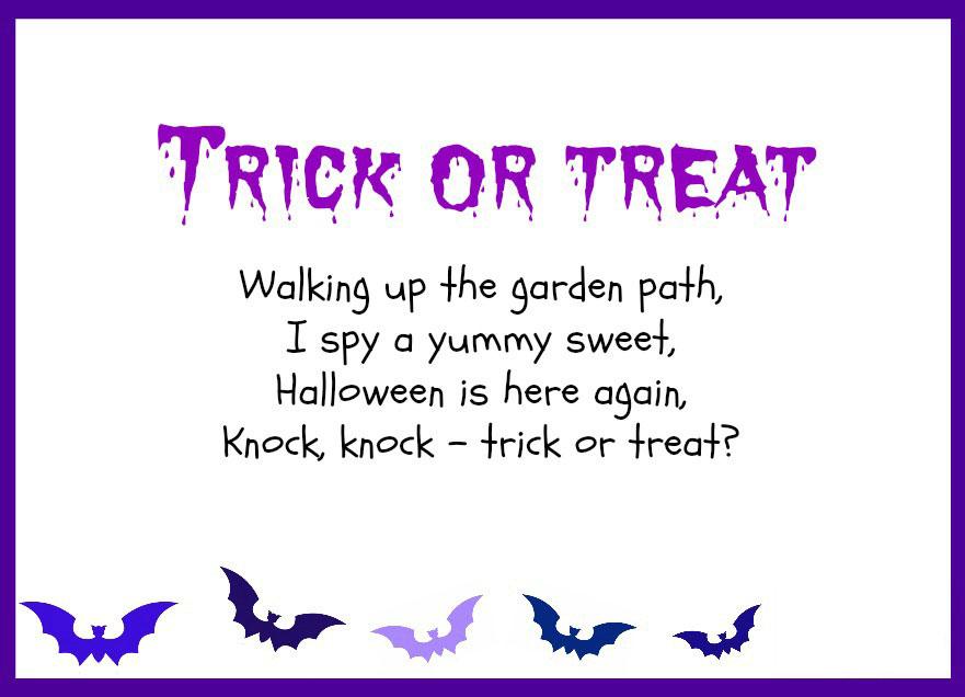 Printable Activities - Poems For Kids - Halloween