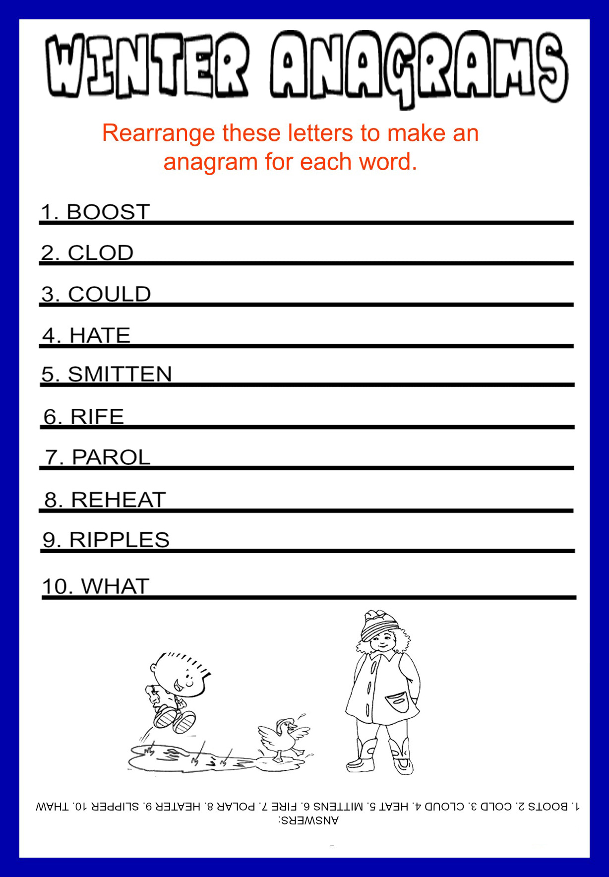 Anagrams Free Printable Winter
