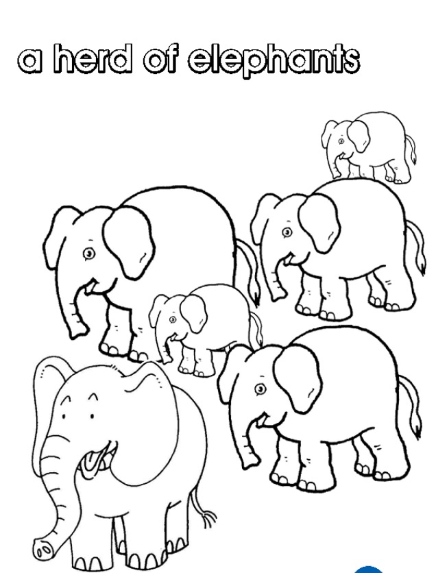 Print Off Your Own Herd Of Elephants Colouring Page
